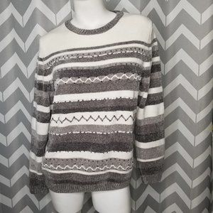 ALFRED DUNNER gray and white knit sweater